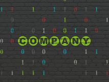 Finance concept: Company on wall background. Finance concept: Painted green text Company on Black Brick wall background with Binary Code Stock Photo