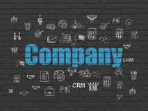 Finance concept: Company on wall background. Finance concept: Painted blue text Company on Black Brick wall background with  Hand Drawn Business Icons Stock Photos