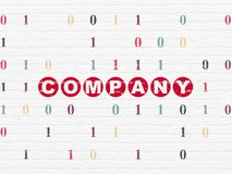 Finance concept: Company on wall background. Finance concept: Painted red text Company on White Brick wall background with Binary Code Royalty Free Stock Photography