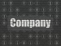 Finance concept: Company on wall background. Finance concept: Painted white text Company on Black Brick wall background with Scheme Of Binary Code Royalty Free Stock Photography