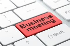 Finance concept: Business Meeting on computer keyboard background Stock Images