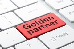 Finance concept: Golden Partner on computer keyboard background. Finance concept: computer keyboard with word Golden Partner, selected focus on enter button Stock Photos