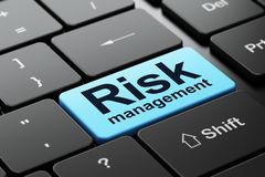 Finance concept: Risk Management on computer keyboard background. Finance concept: computer keyboard with word Risk Management, selected focus on enter button Royalty Free Stock Photo