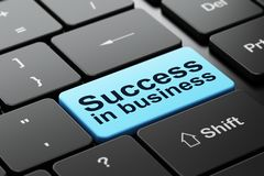 Finance concept: Success In business on computer keyboard background. Finance concept: computer keyboard with word Success In business, selected focus on enter Royalty Free Stock Photos