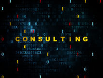 Finance concept: Consulting on Digital background. Finance concept: Pixelated yellow text Consulting on Digital wall background with Binary Code, 3d render Stock Image
