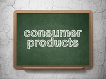 Finance concept: Consumer Products on chalkboard background. Finance concept: text Consumer Products on Green chalkboard on grunge wall background, 3D rendering Royalty Free Stock Images