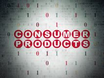 Finance concept: Consumer Products on Digital Data Paper background. Finance concept: Painted red text Consumer Products on Digital Data Paper background with Royalty Free Stock Image