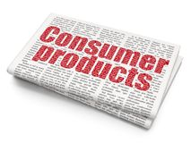 Finance concept: Consumer Products on Newspaper background. Finance concept: Pixelated red text Consumer Products on Newspaper background, 3D rendering Stock Images