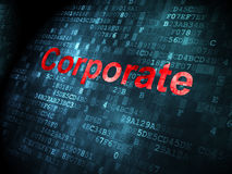 Finance concept: Corporate on digital background. Finance concept: pixelated words Corporate on digital background, 3d render Stock Images