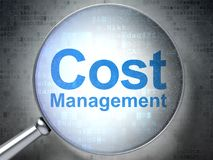 Finance concept: Cost Management with optical glass. Finance concept: magnifying optical glass with words Cost Management on digital background, 3D rendering Royalty Free Stock Photo