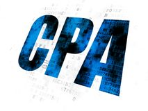 Finance concept: CPA on Digital background. Finance concept: Pixelated blue text CPA on Digital background Royalty Free Stock Image