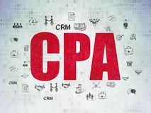 Finance concept: CPA on Digital Data Paper background. Finance concept: Painted red text CPA on Digital Data Paper background with  Hand Drawn Business Icons Stock Image