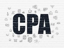 Finance concept: CPA on wall background. Finance concept: Painted black text CPA on White Brick wall background with  Hand Drawn Business Icons Stock Images