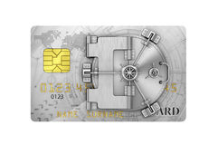 Finance concept. Credit card with safe door. 3d illustration Stock Photography