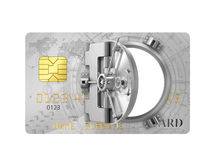 Finance concept. Credit card with safe opened door. 3d illustration Stock Photography