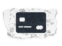 Finance concept: Credit Card on Torn Paper Royalty Free Stock Images