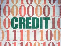 Finance concept: Credit on Digital Data Paper background. Finance concept: Painted green text Credit on Digital Data Paper background with Binary Code Royalty Free Stock Image