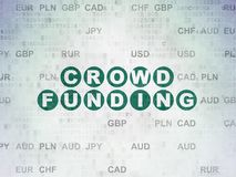 Finance concept: Crowd Funding on Digital Data Paper background. Finance concept: Painted green text Crowd Funding on Digital Data Paper background with Currency Stock Images