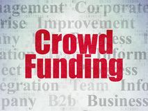 Finance concept: Crowd Funding on Digital Data Paper background. Finance concept: Painted red text Crowd Funding on Digital Data Paper background with   Tag Stock Image