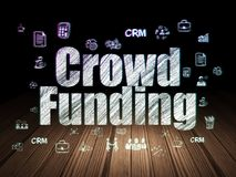 Finance concept: Crowd Funding in grunge dark room. Finance concept: Glowing text Crowd Funding,  Hand Drawn Business Icons in grunge dark room with Wooden Floor Stock Image