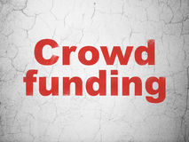 Finance concept: Crowd Funding on wall background. Finance concept: Red Crowd Funding on textured concrete wall background, 3d render Stock Images