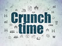 Finance concept: Crunch Time on Digital Data Paper background. Finance concept: Painted blue text Crunch Time on Digital Data Paper background with  Hand Drawn Stock Photo