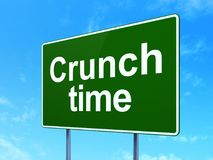 Finance concept: Crunch Time on road sign background. Finance concept: Crunch Time on green road highway sign, clear blue sky background, 3D rendering Stock Photo
