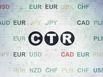 Finance concept: CTR on Digital Data Paper background. Finance concept: Painted black text CTR on Digital Data Paper background with Currency Royalty Free Stock Photo