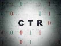 Finance concept: CTR on Digital Data Paper background. Finance concept: Painted black text CTR on Digital Data Paper background with Binary Code Royalty Free Stock Photos