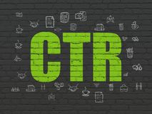 Finance concept: CTR on wall background. Finance concept: Painted green text CTR on Black Brick wall background with  Hand Drawn Business Icons Royalty Free Stock Photography