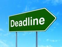 Finance concept: Deadline on road sign background. Finance concept: Deadline on green road highway sign, clear blue sky background, 3D rendering Stock Images
