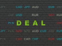 Finance concept: Deal on wall background. Finance concept: Painted green text Deal on Black Brick wall background with Currency Royalty Free Stock Images