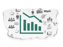 Finance concept: Decline Graph on Torn Paper background. Finance concept: Painted green Decline Graph icon on Torn Paper background with  Hand Drawn Business Stock Photo