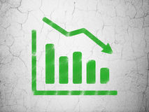 Finance concept: Decline Graph on wall background. Finance concept: Green Decline Graph on textured concrete wall background, 3d render Stock Images