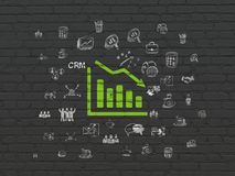 Finance concept: Decline Graph on wall background. Finance concept: Painted green Decline Graph icon on Black Brick wall background with  Hand Drawn Business Stock Images