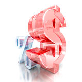 Finance Concept Dollar Currency And Percent Symbols. 3d Render Illustration Stock Images