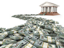 Finance concept. Dollars and bank building. Stock Image