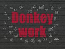 Finance concept: Donkey Work on wall background. Finance concept: Painted red text Donkey Work on Black Brick wall background with  Hand Drawn Business Icons Royalty Free Stock Photos