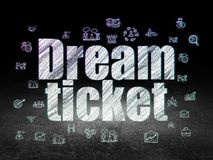 Finance concept: Dream Ticket in grunge dark room Royalty Free Stock Image
