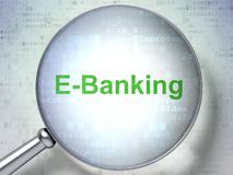 Finance concept: E-Banking with optical glass. Finance concept: magnifying optical glass with words E-Banking on digital background, 3D rendering Royalty Free Stock Photos