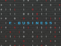 Finance concept: E-business on wall background. Finance concept: Painted blue text E-business on Black Brick wall background with Binary Code, 3d render Stock Photos