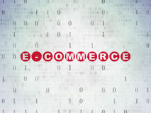 Finance concept: E-commerce on Digital Paper. Finance concept: Painted red text E-commerce on Digital Paper background with Binary Code, 3d render Royalty Free Stock Photography
