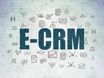 Finance concept: E-CRM on Digital Data Paper background. Finance concept: Painted blue text E-CRM on Digital Data Paper background with  Hand Drawn Business Stock Photos