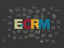 Finance concept: E-CRM on wall background. Finance concept: Painted multicolor text E-CRM on Black Brick wall background with  Hand Drawn Business Icons Stock Photography