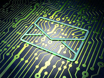 Finance concept: Email on circuit board background. Finance concept: circuit board with Email icon, 3d render Royalty Free Stock Image