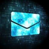 Finance concept: Email on digital background. Finance concept: pixelated Email icon on digital background, 3d render Stock Images