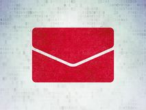 Finance concept: Email on Digital Data Paper background. Finance concept: Painted red Email icon on Digital Data Paper background Royalty Free Stock Photos