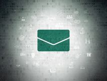 Finance concept: Email on Digital Data Paper background. Finance concept: Painted green Email icon on Digital Data Paper background with  Hand Drawn Business Royalty Free Stock Photo