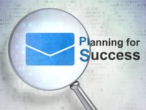 Finance concept: Email and Planning for Success with optical glass. Finance concept: magnifying optical glass with Email icon and Planning for Success word on Royalty Free Stock Image