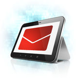 Finance concept: Email on tablet pc computer. Finance concept: black tablet pc computer with Email icon on display. Modern portable touch pad on Blue Digital Stock Image